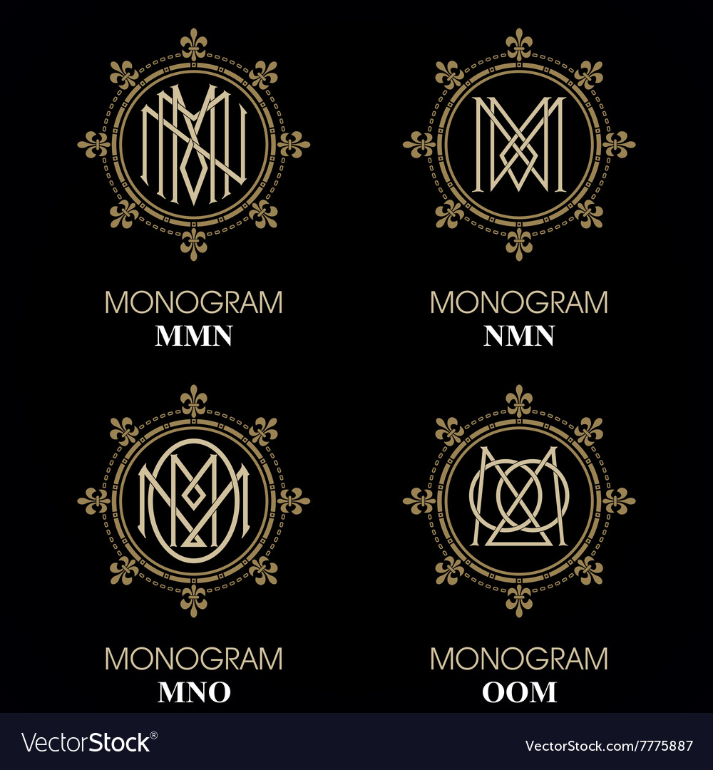 Vintage monograms  4 sets  monograms series vector