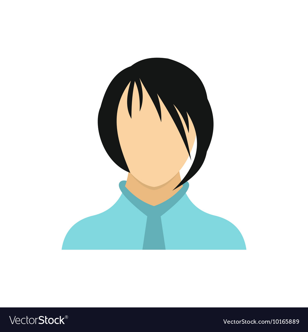 Brunette girl icon in flat style vector