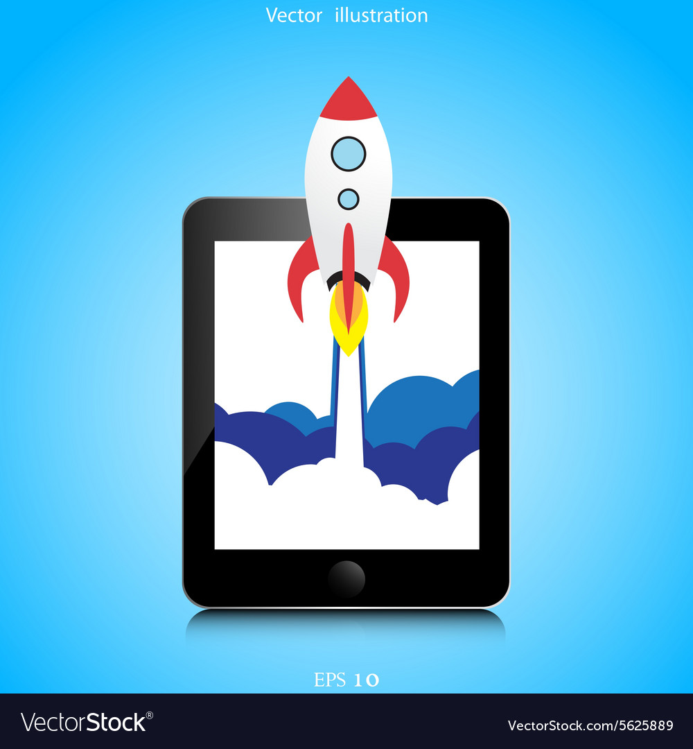 Flat rocket web icon vector