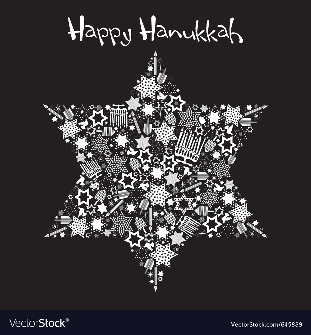 Happy hanukkah star of david vector