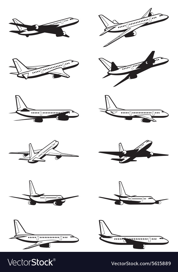 Passenger airplane in perspective vector