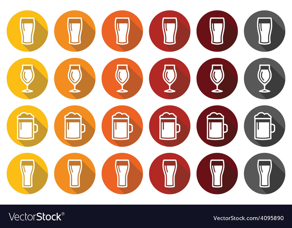Beer glasses different types icons  lager pilsne vector
