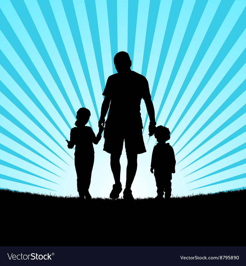 Children with dad in nature silhouette vector