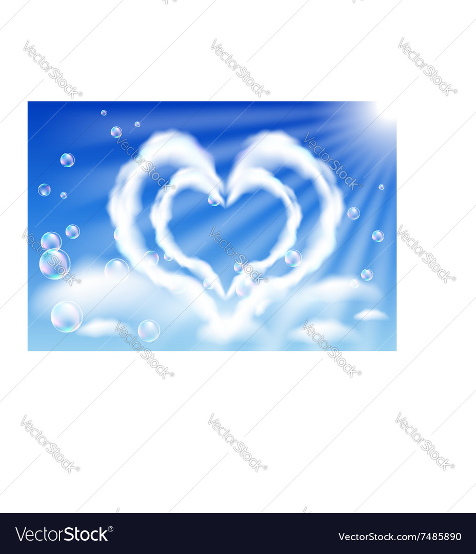 Cloud hearts in the sky vector