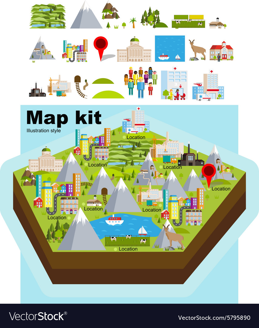 Map kit clean style vector