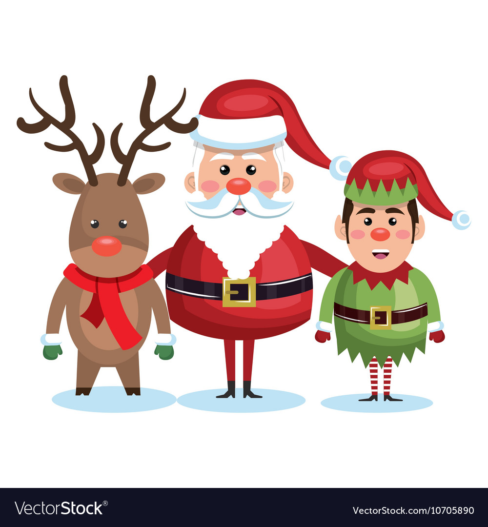 Santa claus reindeer and elf christmas vector