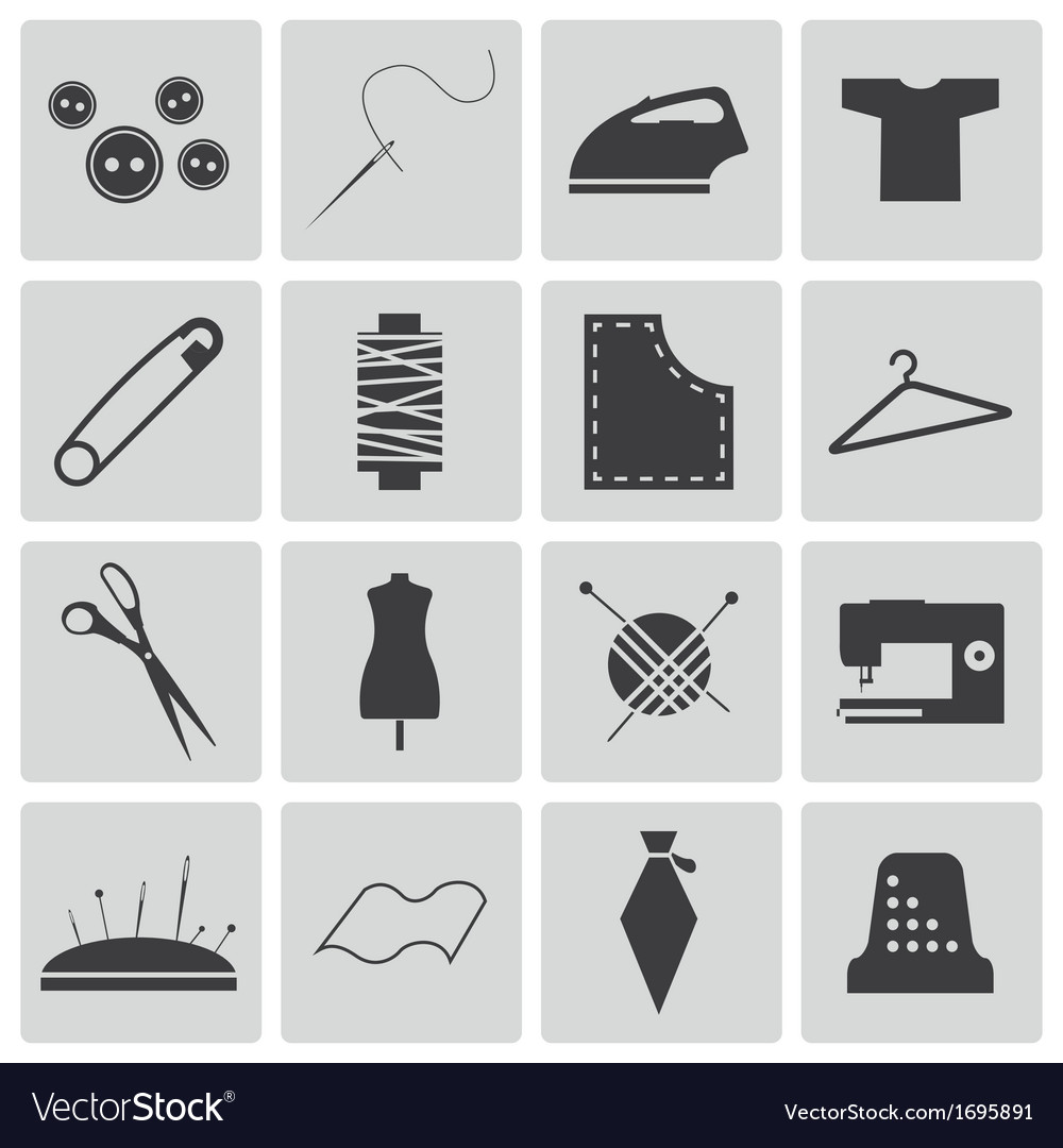 Black sewing icons set vector