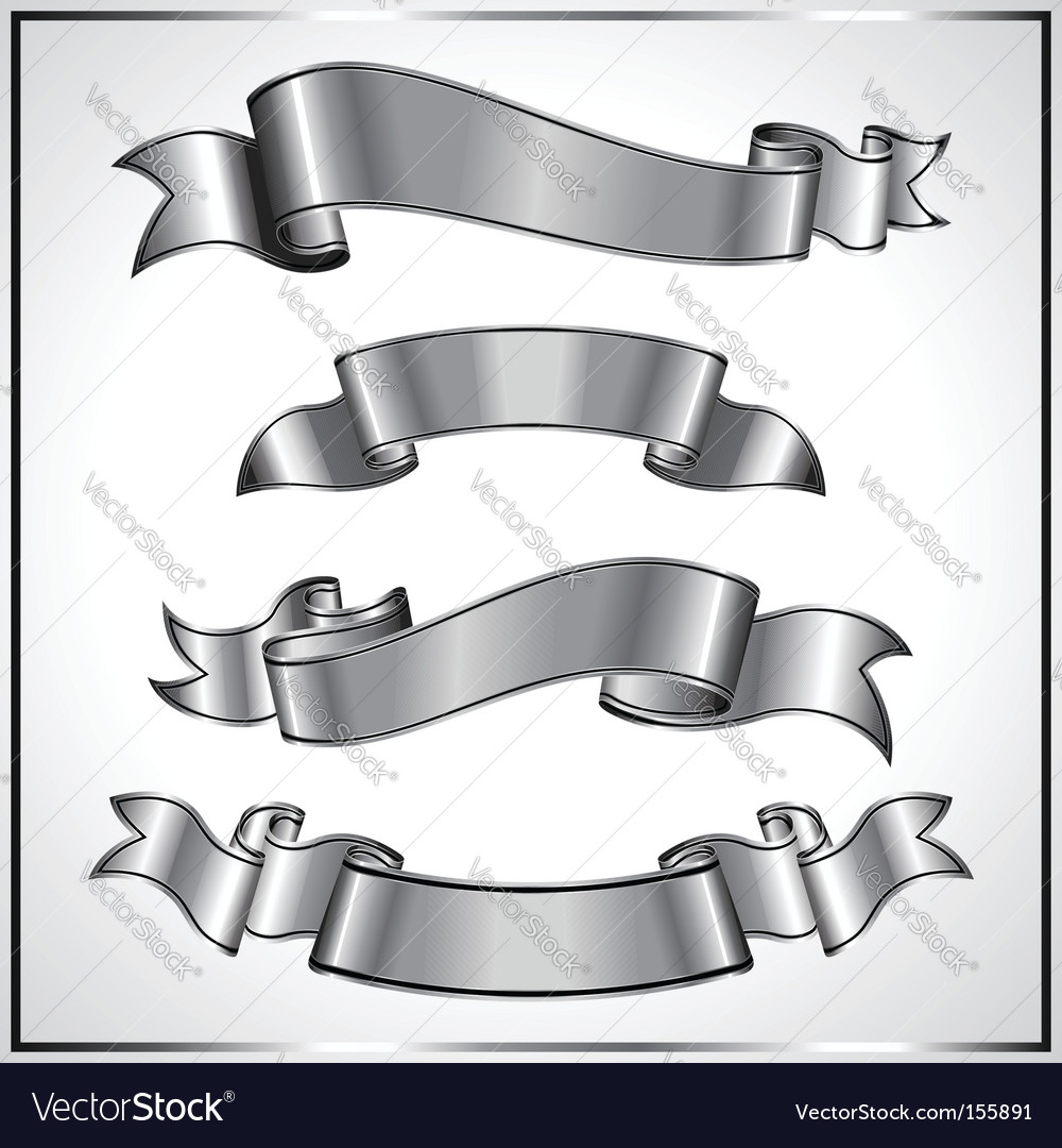 Silver ribbons vector