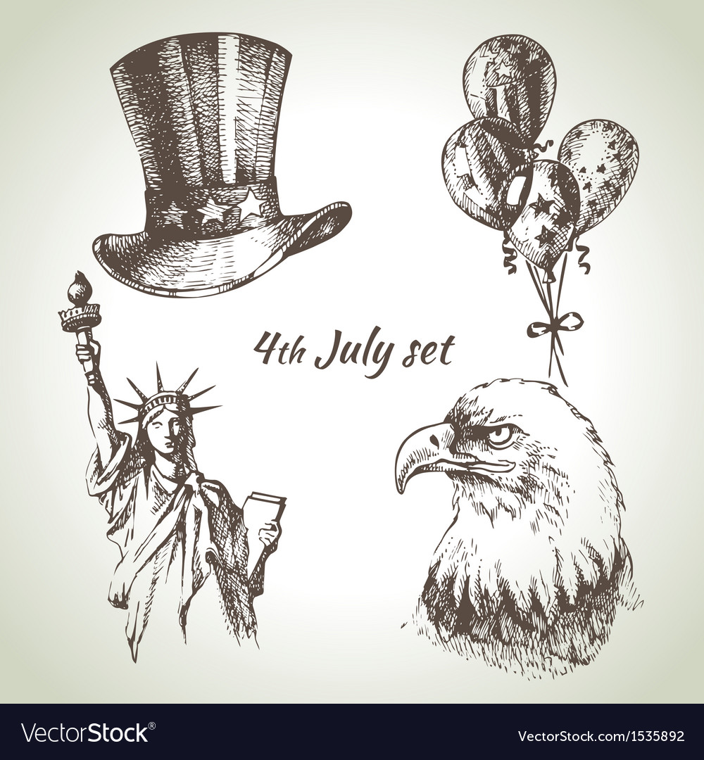 4th of july set vector