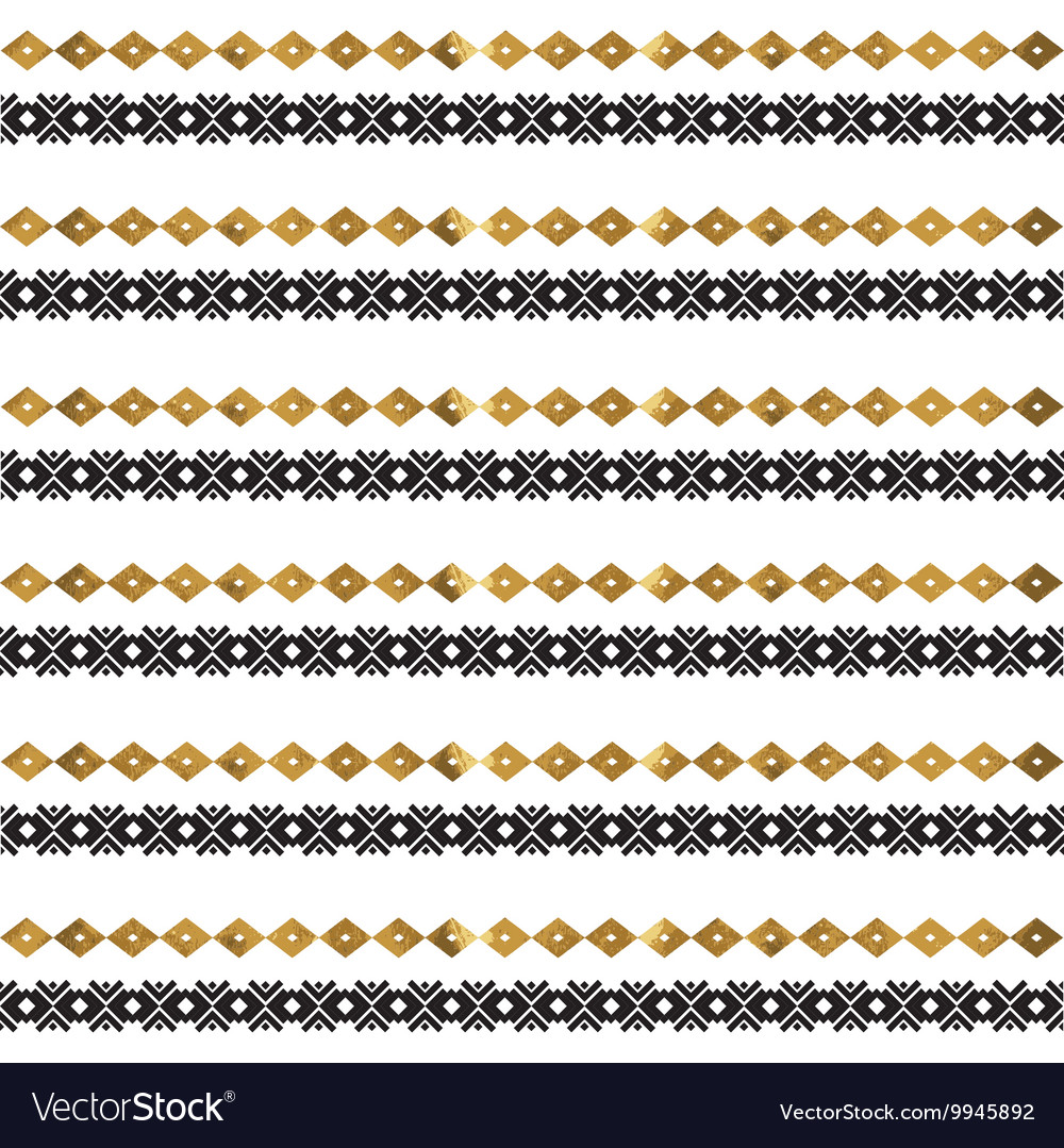 Tribal geometric gold pattern vector