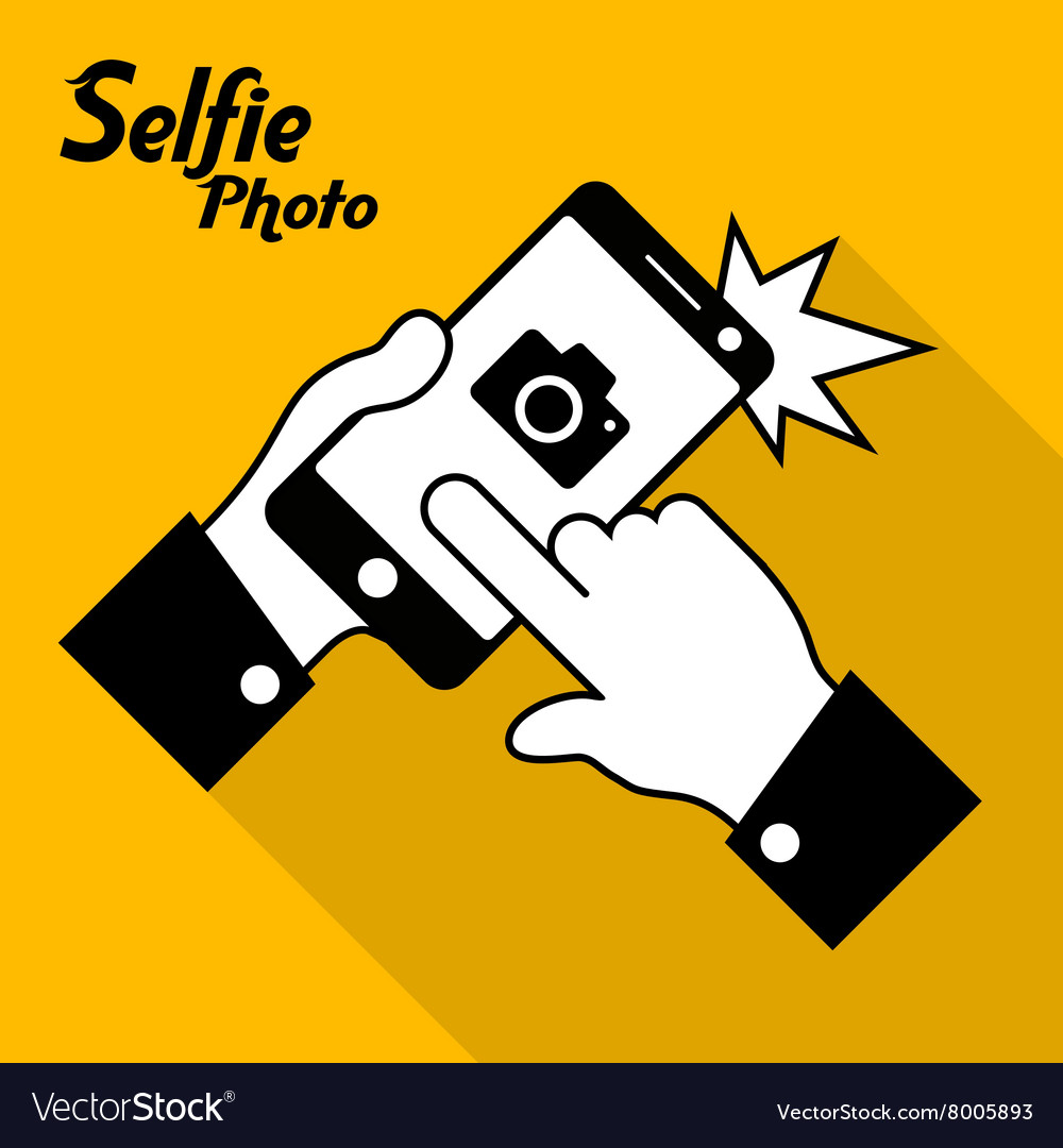 Selfie phone photo in yellow vector