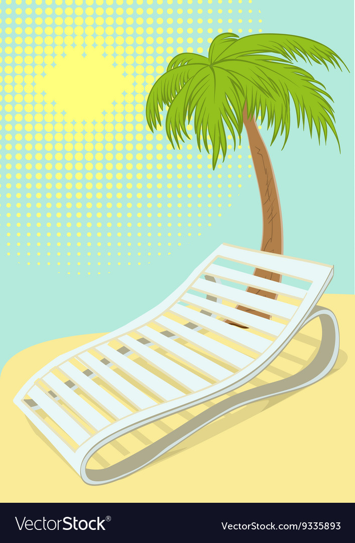 Sunbed under palm tree on tropical beach vector