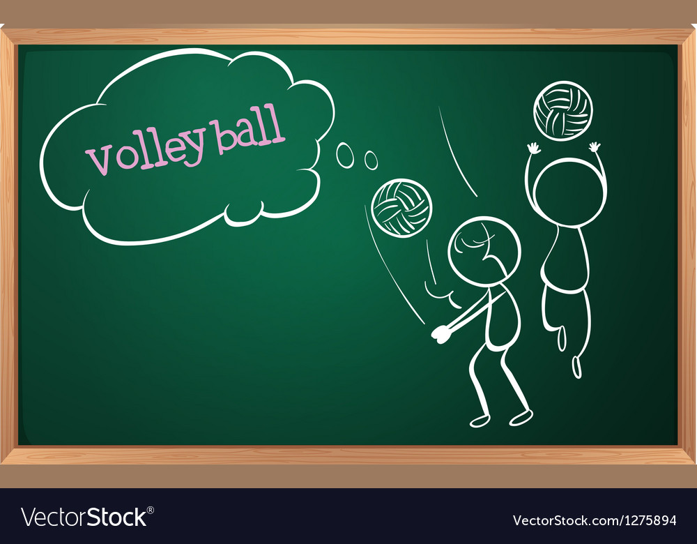 A board with a sketch of two volleyball players vector