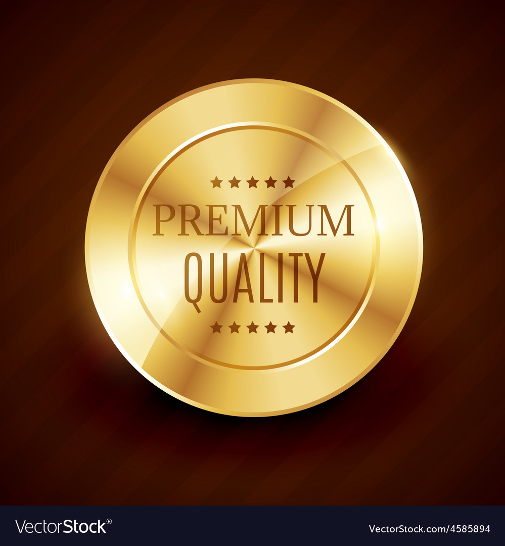 Premium quality golden button design vector