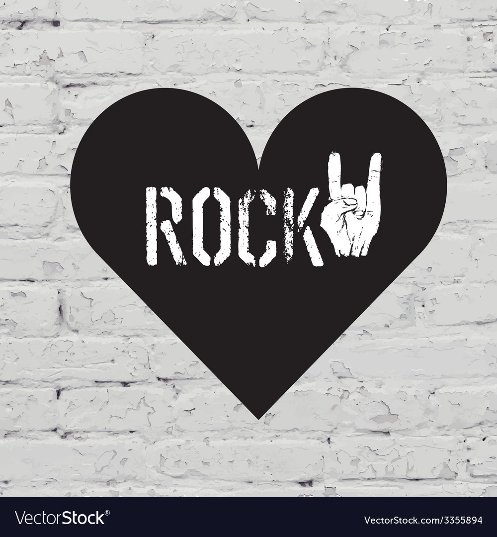 Rock on symbol on white bricks concept vector