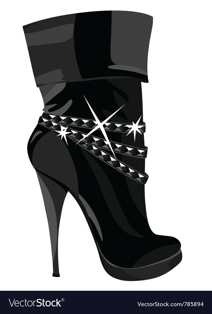 Shining black boots with heels vector