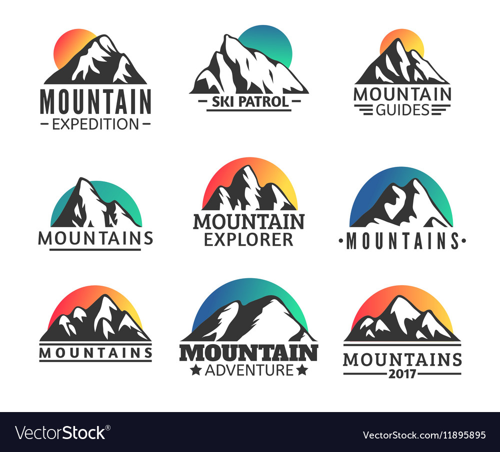 Hand drawn mountains logo set ski resort vector