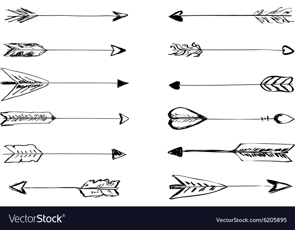 Handdrawn arrows with feathers vector