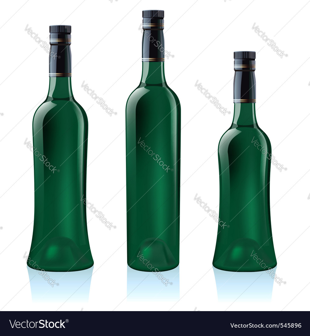 Green wine bottles vector