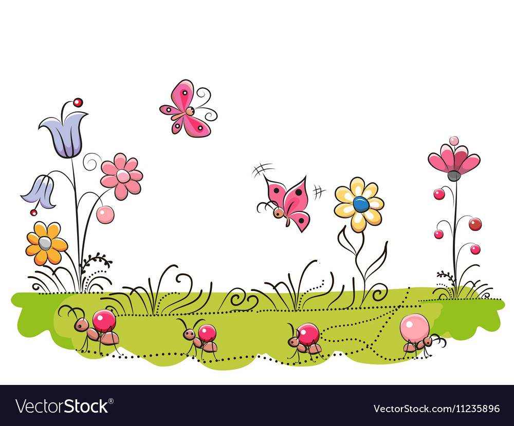 Meadow with cute flowers vector