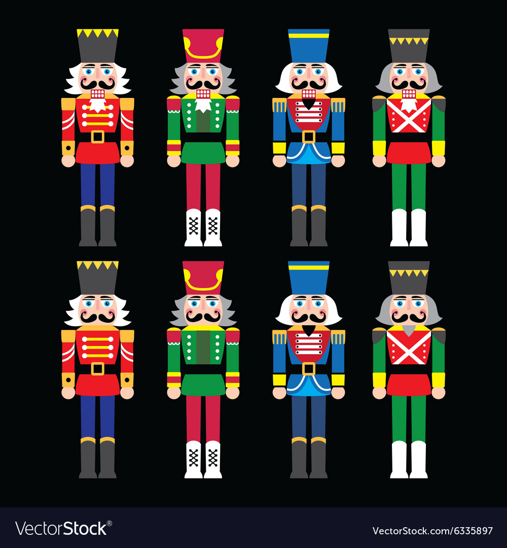 Christmas nutcracker  soldier figurine icons set vector