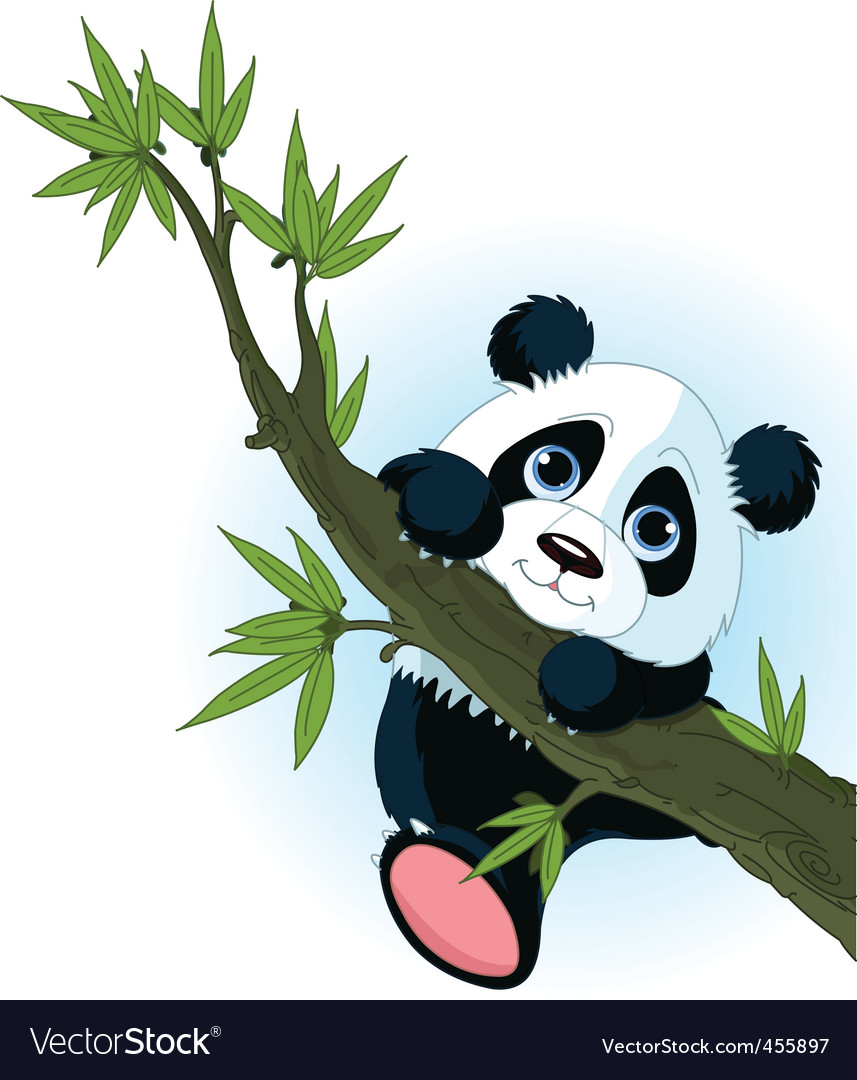 Giant panda climbing tree vector