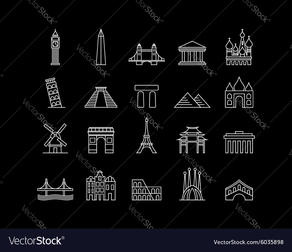 International landmark simple line art icon set vector