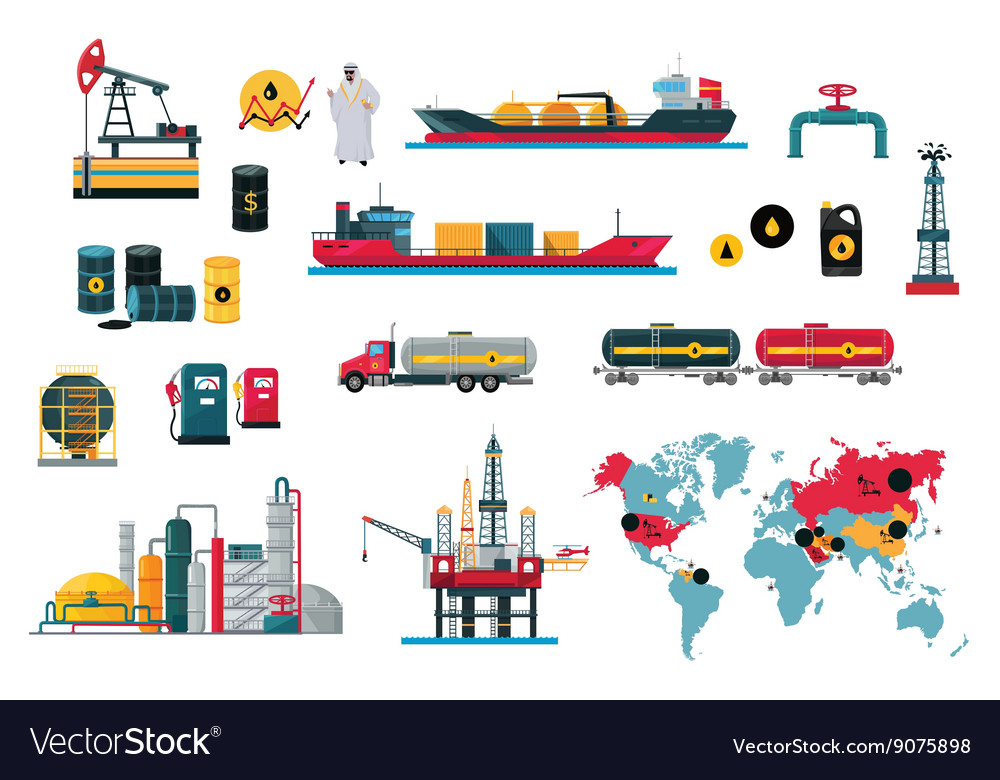 Set of icons concept oil design vector