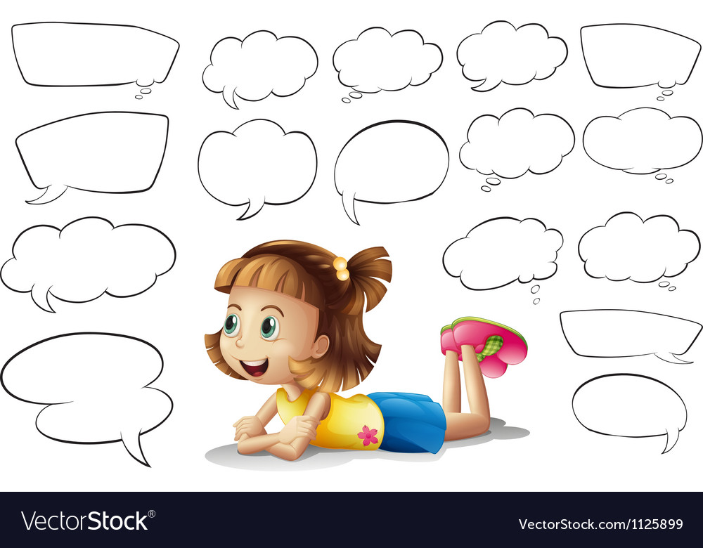 A smiling girl and speech bubbles vector