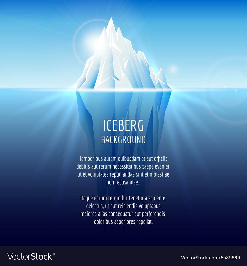 Realistic iceberg on water vector