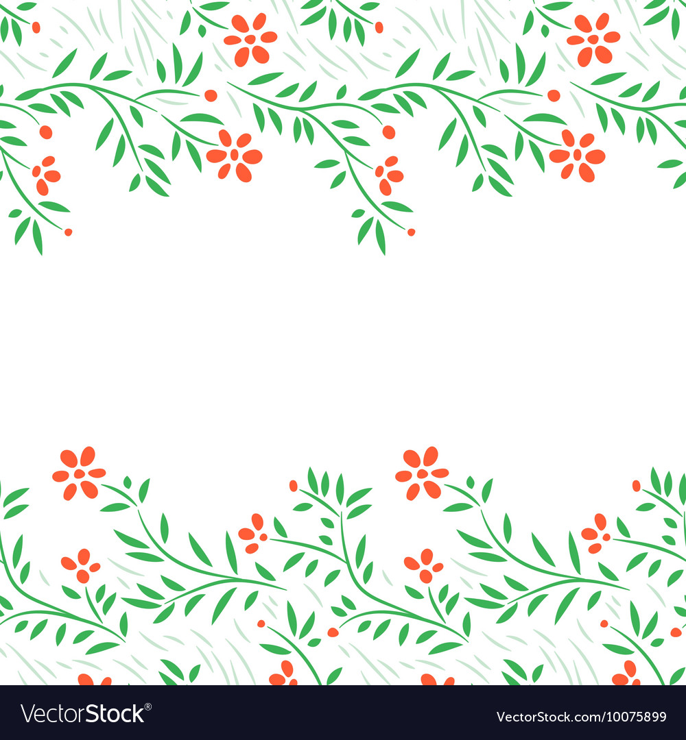 Red flowers horizontal frame seamless border on vector