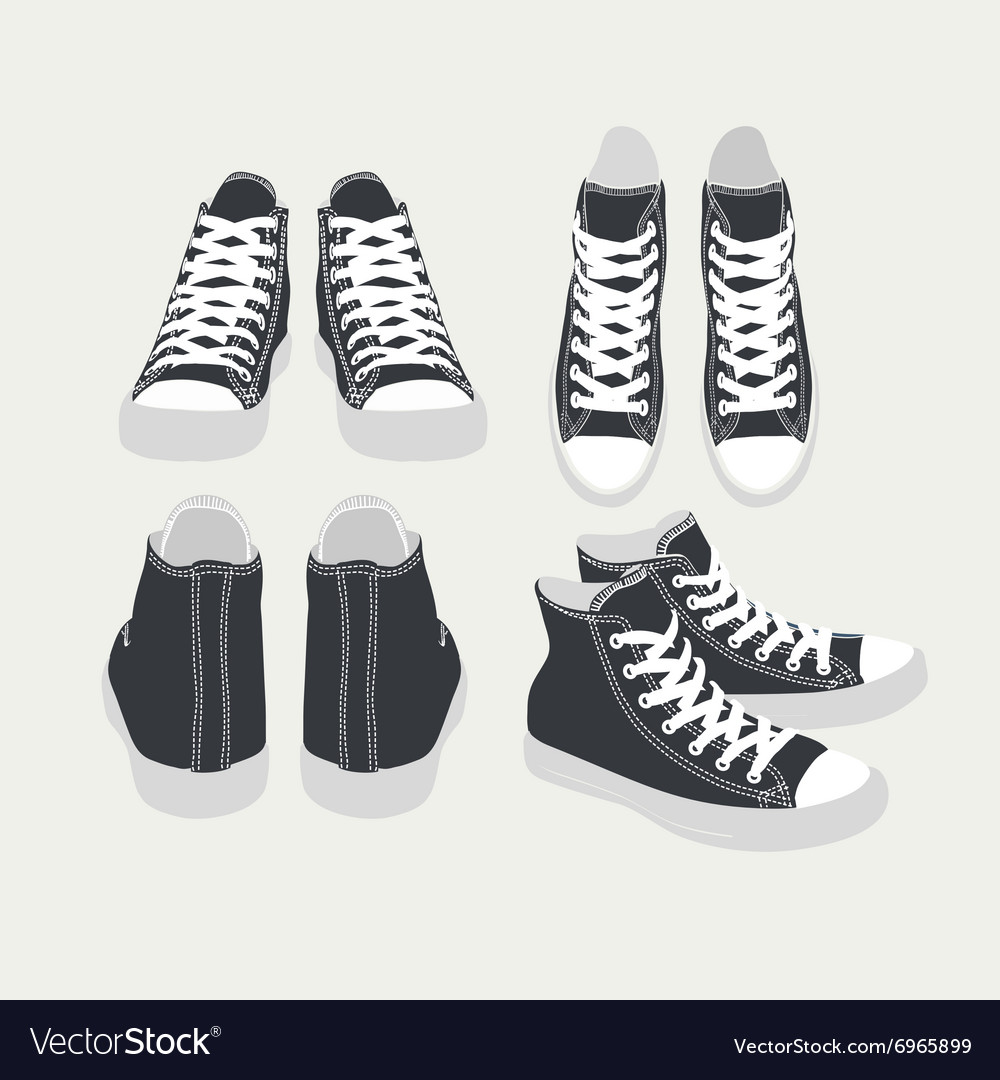 Set of isolated cartoon black sneakers vector