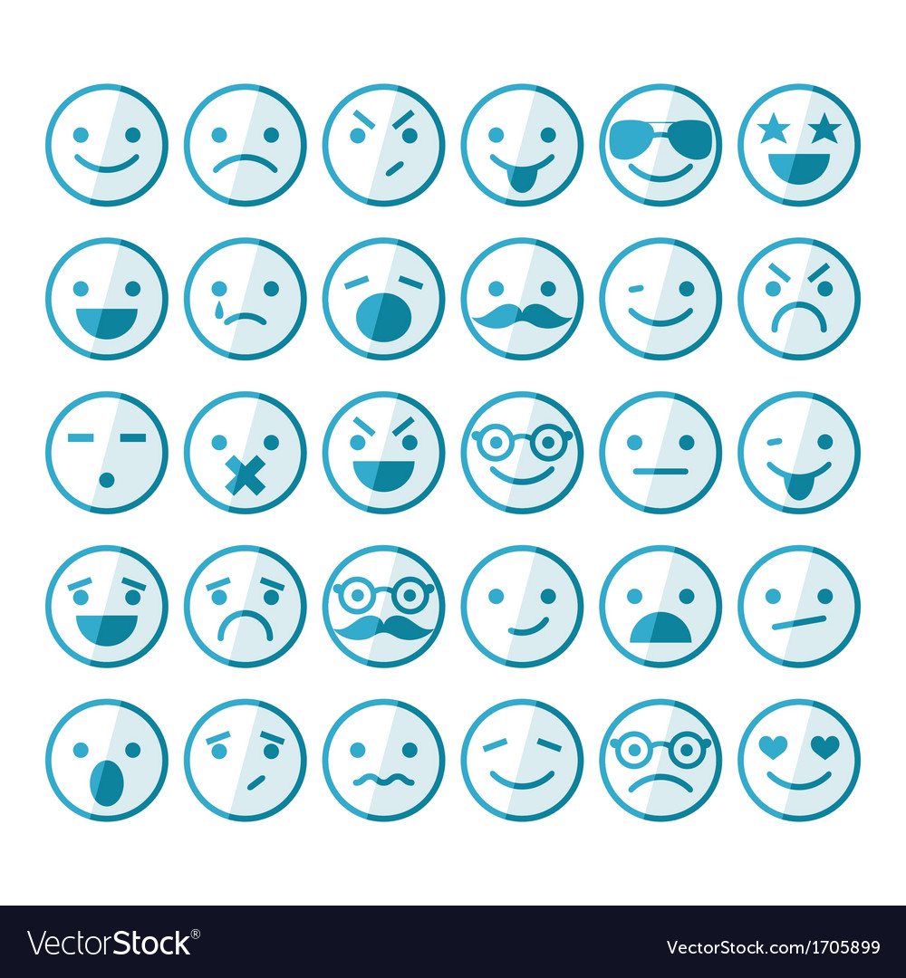 Set of smileys in different emotions and moods vector