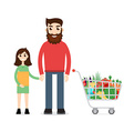 Family Shopping Man with shopping cart vector image