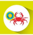 vacation around world sunny red crab vector image