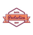 data protection day greeting emblem vector image
