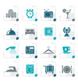 stylized hotel motel and travel icons vector image vector image