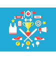 Sport symbols in circle Flat style design vector image