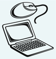 Netbook and computer mouse vector image vector image