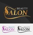 Beauty salon logo design with female face vector image