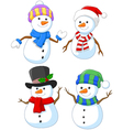 Cartoon happy snowman collection set vector image vector image