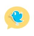 blue bird sticker on yellow speech bubble vector image