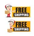 Smile delivery man handling the box and package vector image