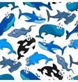 Marine fish cartoon seamless pattern background vector image