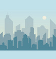 morning city skyline silhouette in flat style vector image