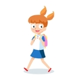 School girl goes to school with backpack cartoon vector image