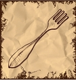 Fork icon isolated on vintage background vector image