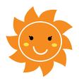 Pretty orange smiling Sun mascot clipart vector image