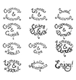 Set 1 of curly lettering Phrases for Coffee Shop vector image