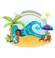 A tan girl at the beach with a surfing board vector image